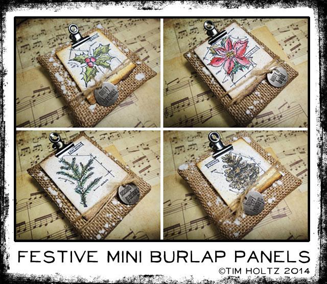 Festive Mini Burlap Panels by Tim Holtz | www.timholtz.com